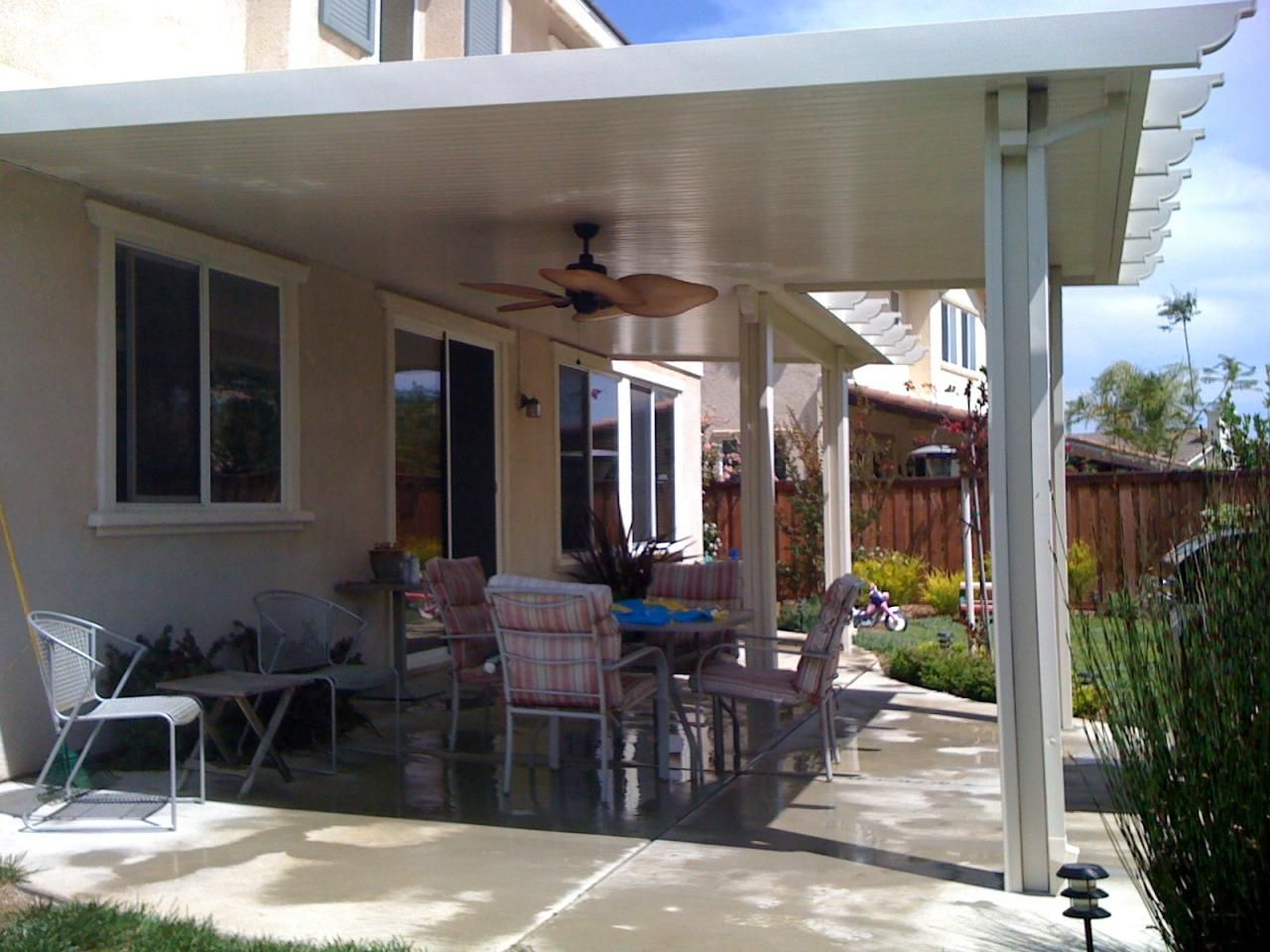 solid alumawood patio cover with ceiling fan back yard ideas