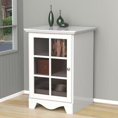 Andover Mills Kew Gardens 1 Door Audio Tower Color White Furniture Adjustable Shelving Entertainment Furniture