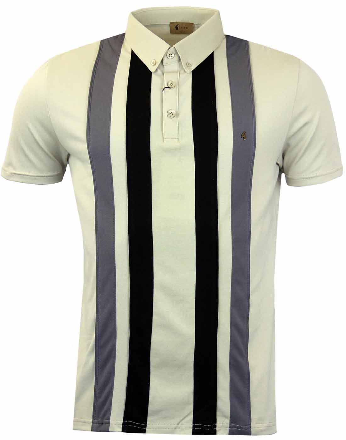 43ea096f5 GABICCI VINTAGE Retro Mod Raised Stripe Panel Polo Shirt in Latte ...