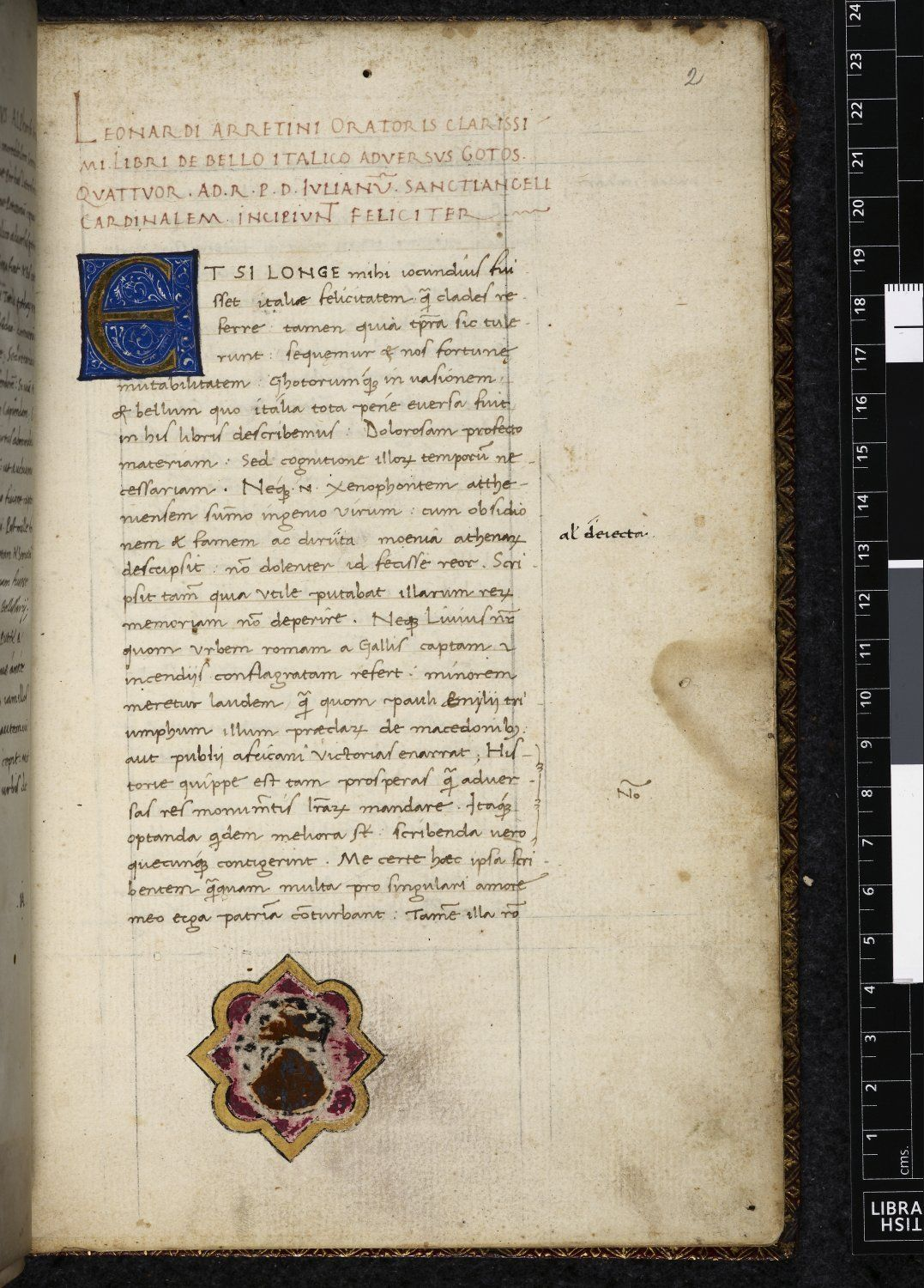 BL Harley 3649   f. 2 Decorated initial