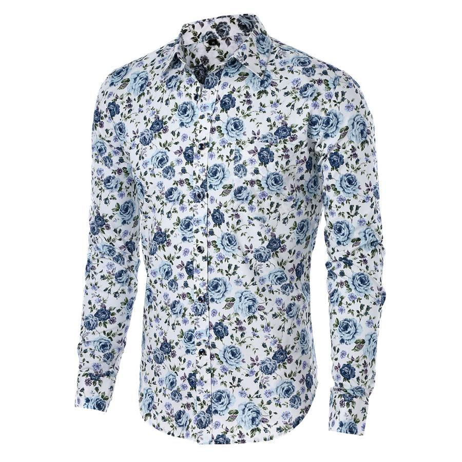 063e8ef3 Long Sleeve Print Floral Shirt Men Slim Fit Shirts Men's Casual Shirt  Chemise Homme 5XL