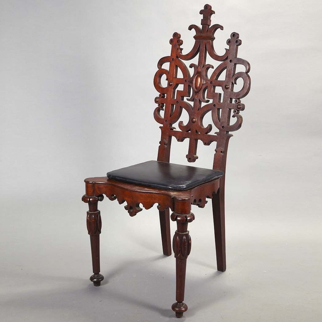 American Gothic Revival Carved Oak Hall Chair Circa 1850