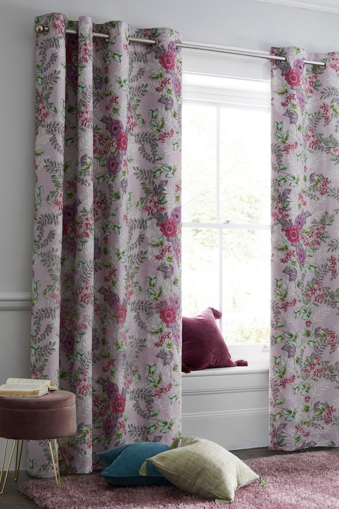 Next Vintage Floral Blackout Eyelet Curtains Purple Blackout Eyelet Curtains