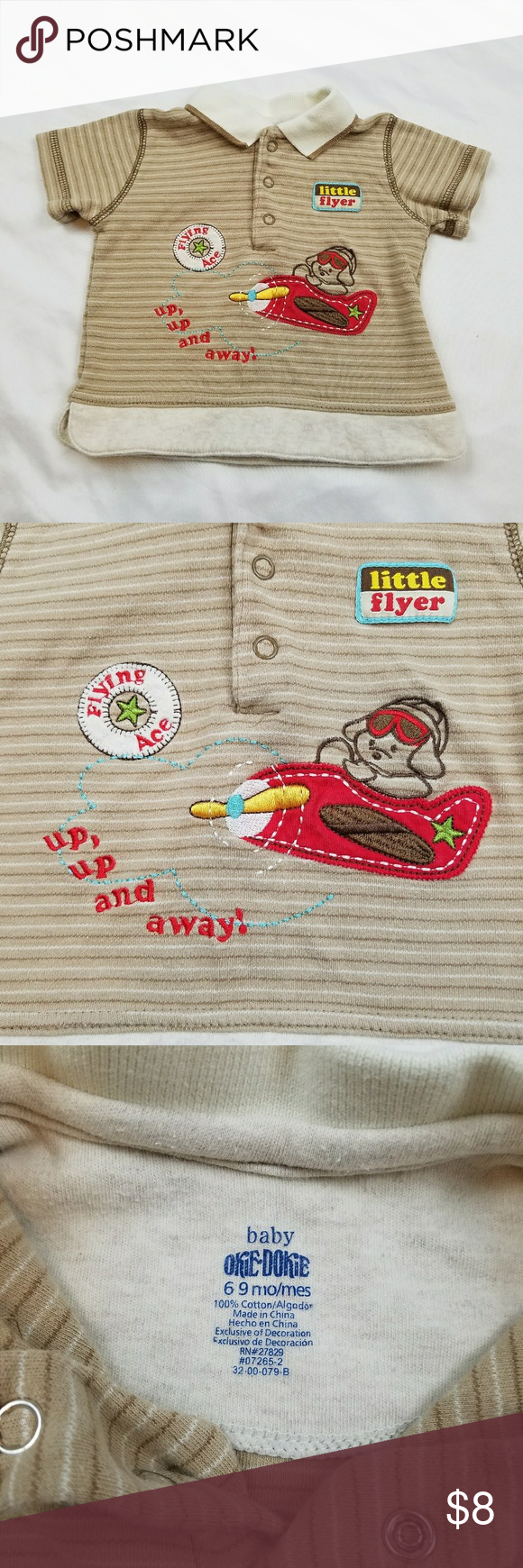 Okie dokie little flyer 6-9m top 100% cotton Okie dokie little flyer 6-9m top 100% cotton. Lightly worn in perfect condition. Inventory #O038 Shirts & Tops Tees - Short Sleeve