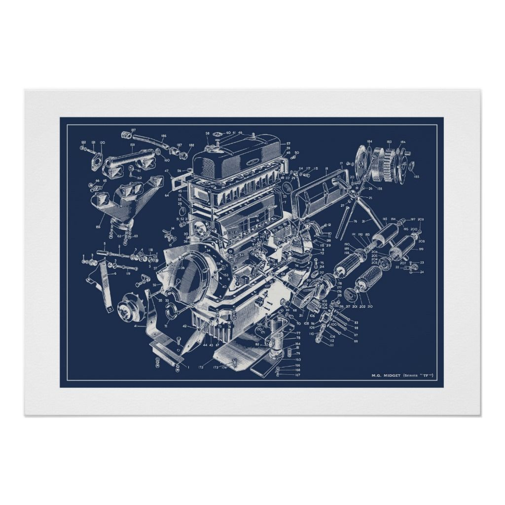 Mg Tf Engine Schematic Poster Blueprint Zazzle Com Personalized Prints Custom Posters Poster Design