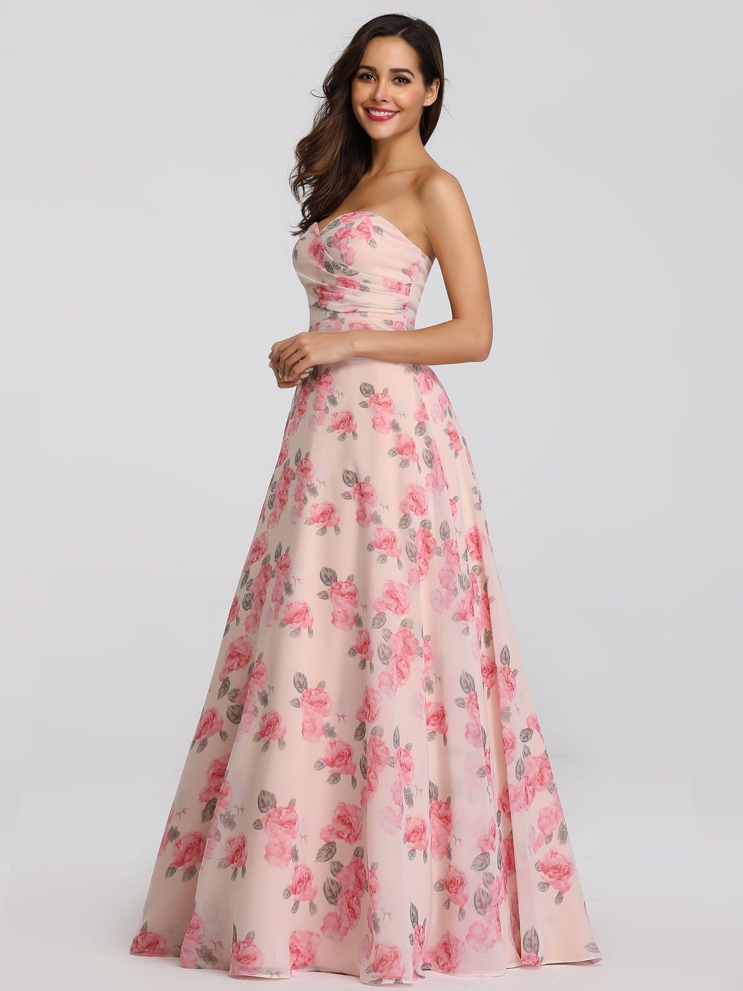 Strapless Long Floral Print Maxi Dress Floral Bridesmaid Dresses Sleeveless Bridesmaid Dresses Long Floral Gown [ 2000 x 1500 Pixel ]
