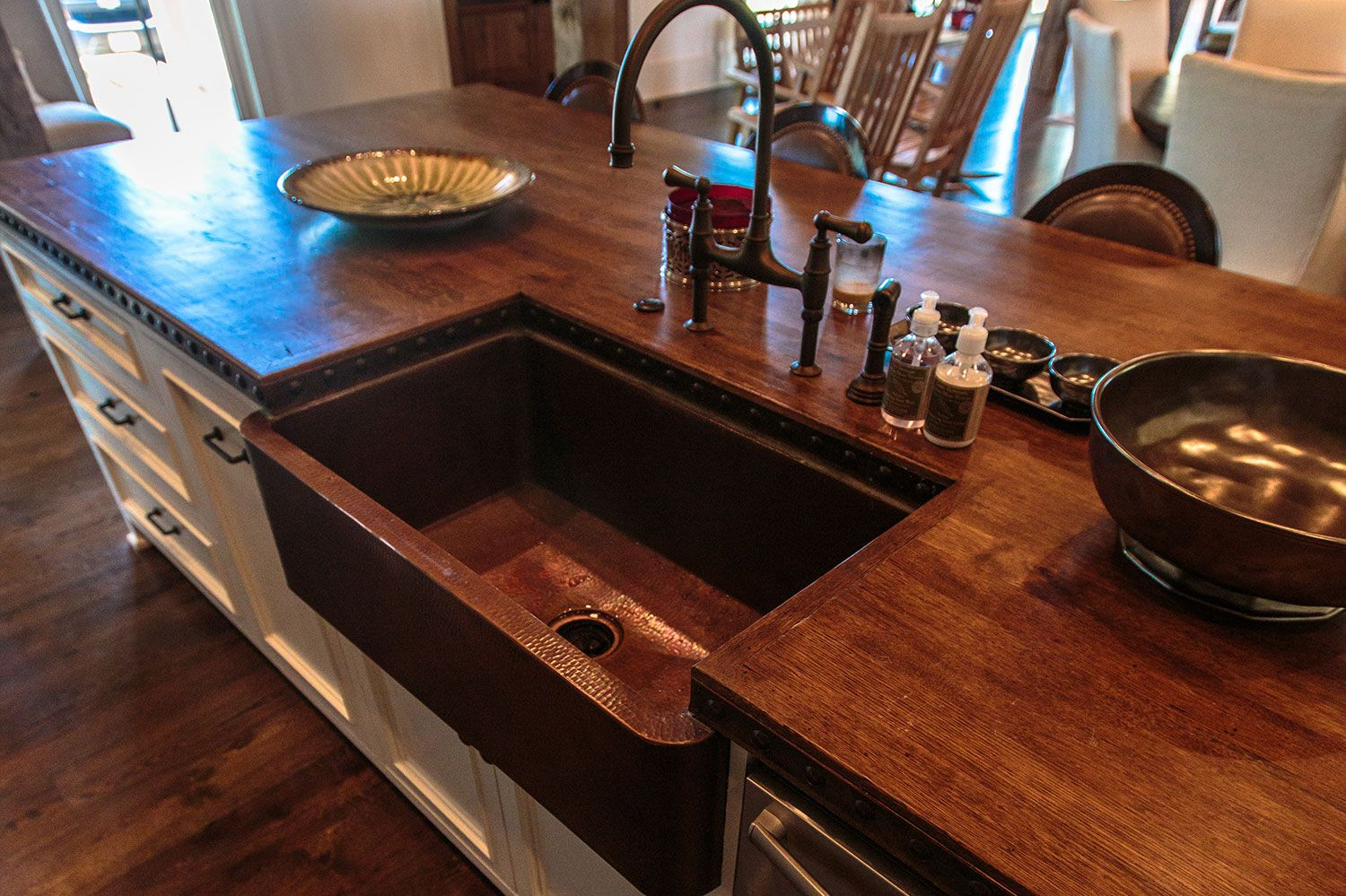 Custom Reclaimed Wood Countertop Kitchen Island With Copper Sink. Pike Road  Millwork.