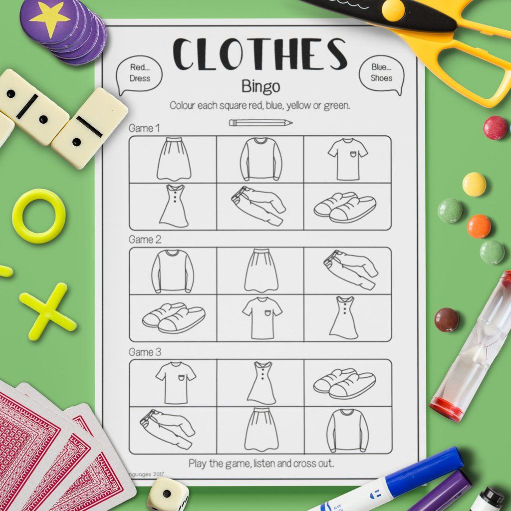 Clothes Bingo Game With Images