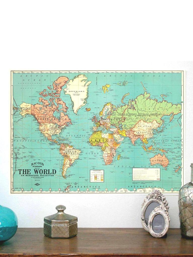Vintage world map poster design pinterest mapas dormitorio y vintage world map poster gumiabroncs Gallery