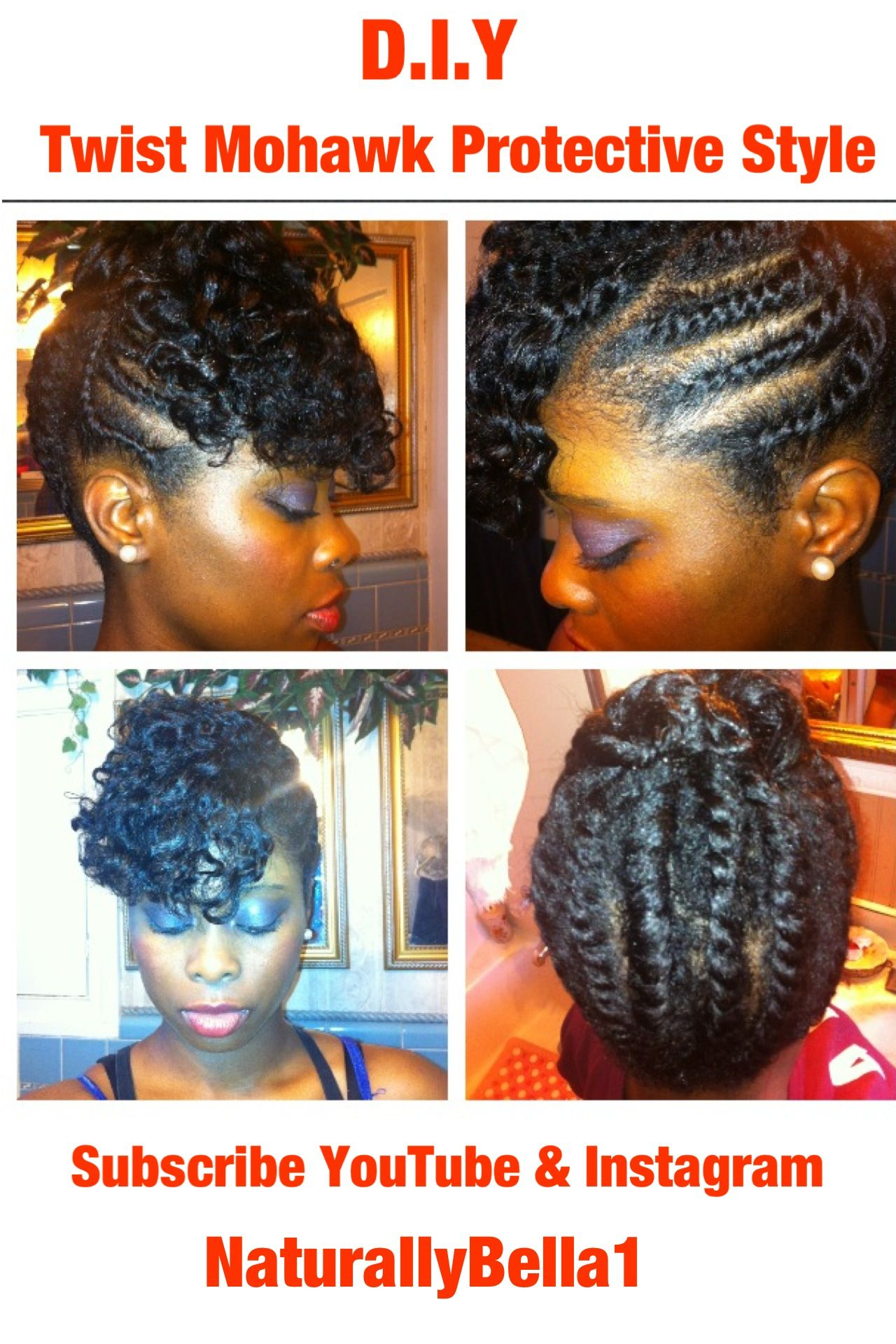 Diy twist mohawk protective style for natural u transitioning hair