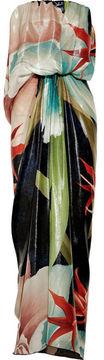 shopstyle.com: Lanvin Draped printed silk-blend lamé gown