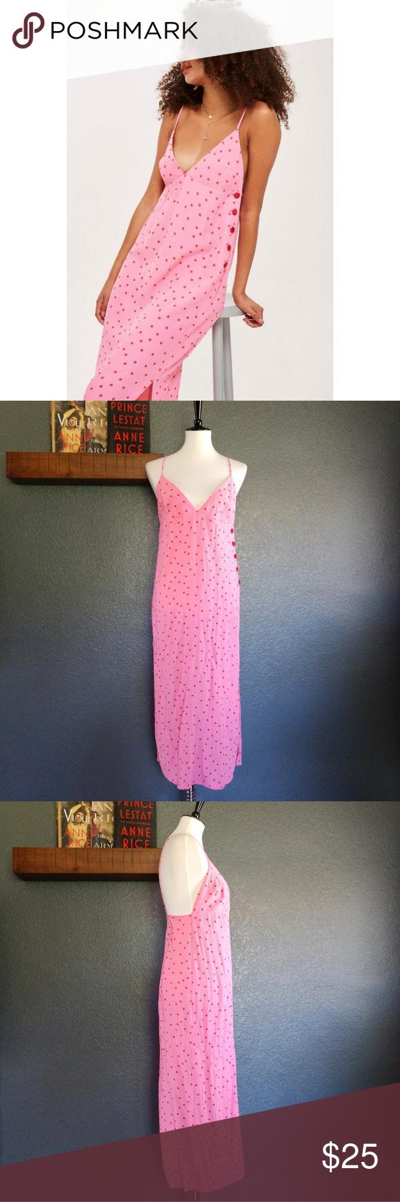 1f4af17179139 TOPSHOP Red & Pink Spot/Polka Dot Midi Dress 10 Red spots on pink