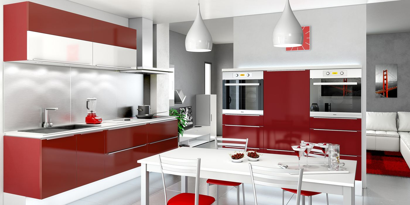 Cuisine moderne blanc et rouge cuisines you mod le for Modele cuisine contemporaine