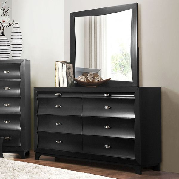 Akeela Contemporary Black Or White 8 Drawer Dresser With Mirror