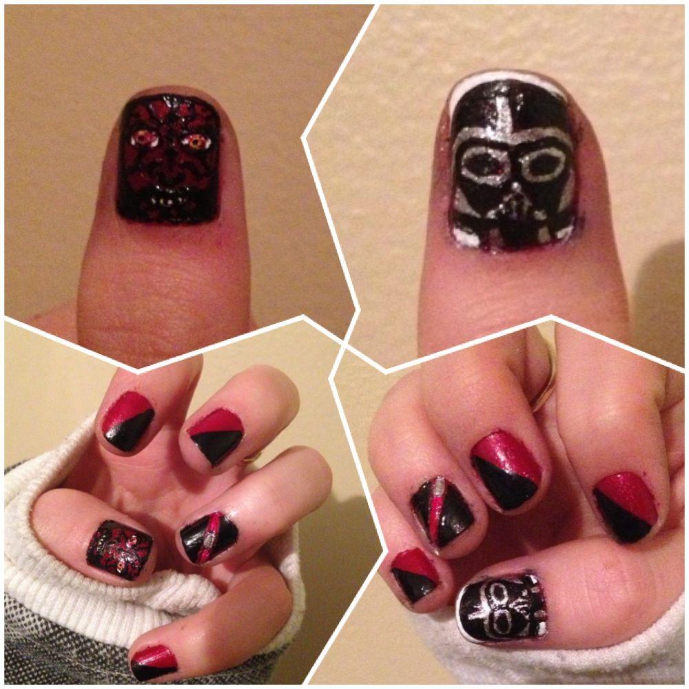 My darth maul and darth vader nails | nails <3 | Pinterest | Darth ...
