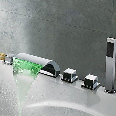 Zeitgenssische Chrome Finish Thermochrome LED Wasserfall Bad ... | {Badewannen armaturen wasserfall 62}