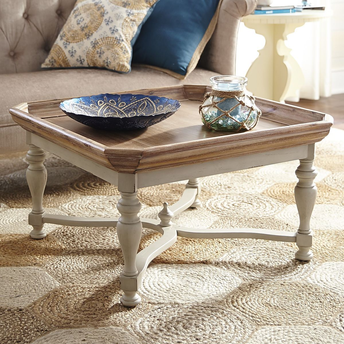 Amelia Natural Stonewash Square Coffee Table Table Coffee Table