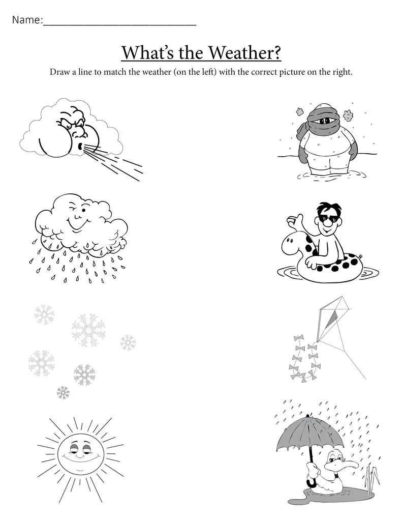"""What's the Weather?"" Printable Matching Worksheet"