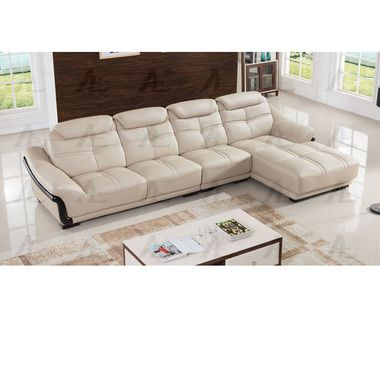 3 pcs Left Chaise Light Gray Genuine Leather Sectional sofa Set