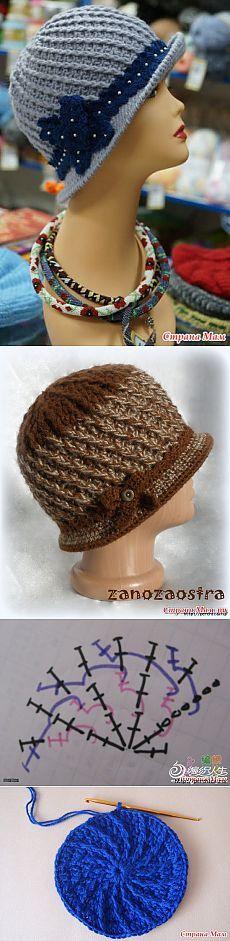 Шляпки для женщин связанные крючком - мк и схемы | шарфы шапки ...