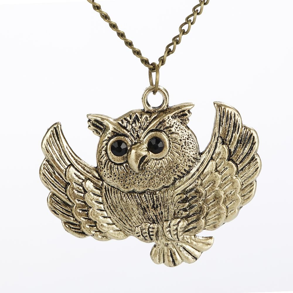 New vintage charm women girls ladies fashion bronze owl long chain