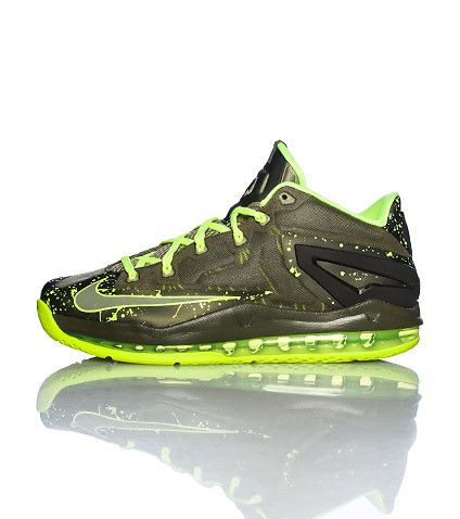 online retailer c404a 84178 NIKE Lebron James Men s sneaker Lace up closure Mesh for breathability  Cushioned sole Air bubble heel Olive green color with volt yellow accents