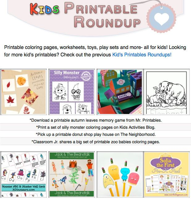 16 printable coloring pages, worksheets, toys, play sets and more ...