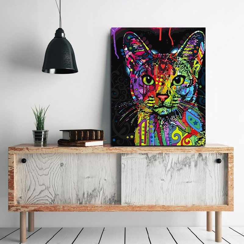 Color lovely cat without frame oil painting modern simple