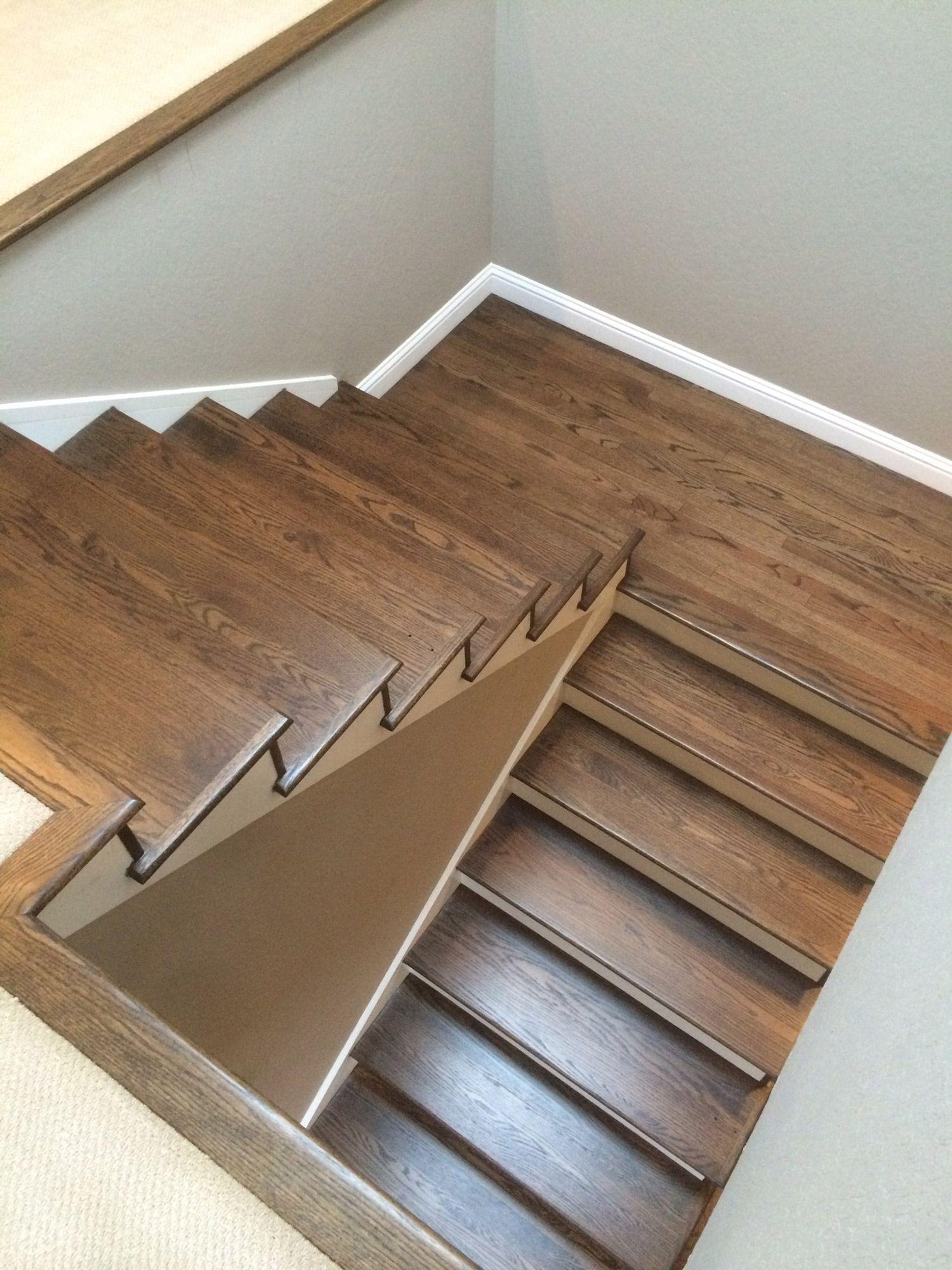 Best Red Oak Refinish Lafayette Dark Stain Stairs Wood Floor 400 x 300