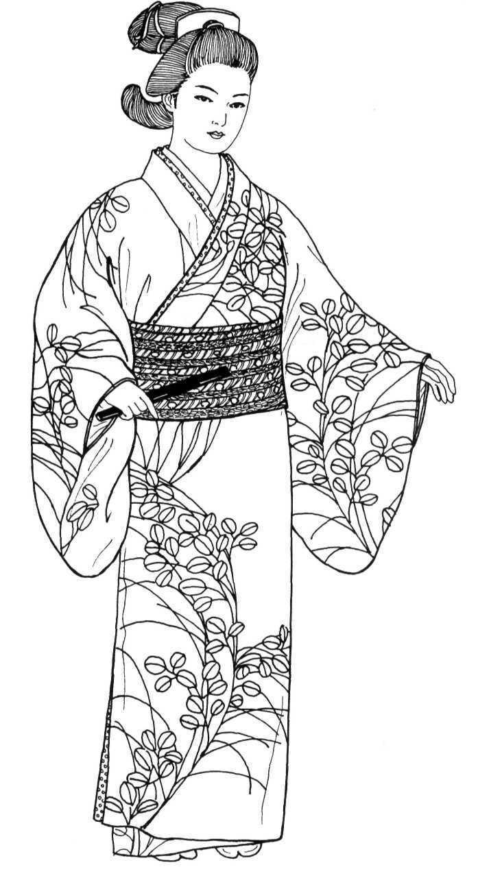 рисунки японок в национальных костюмах личного архива