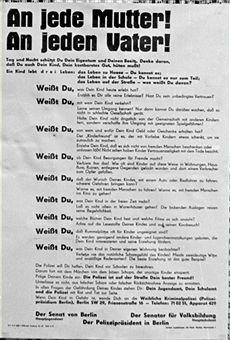 Bekanntmachung der Polizei,vom Senat von Ost-Berlin,Senator fuer Volksbildung und vom Jugendamt zum Schutz der Kinder Berlin 1953
