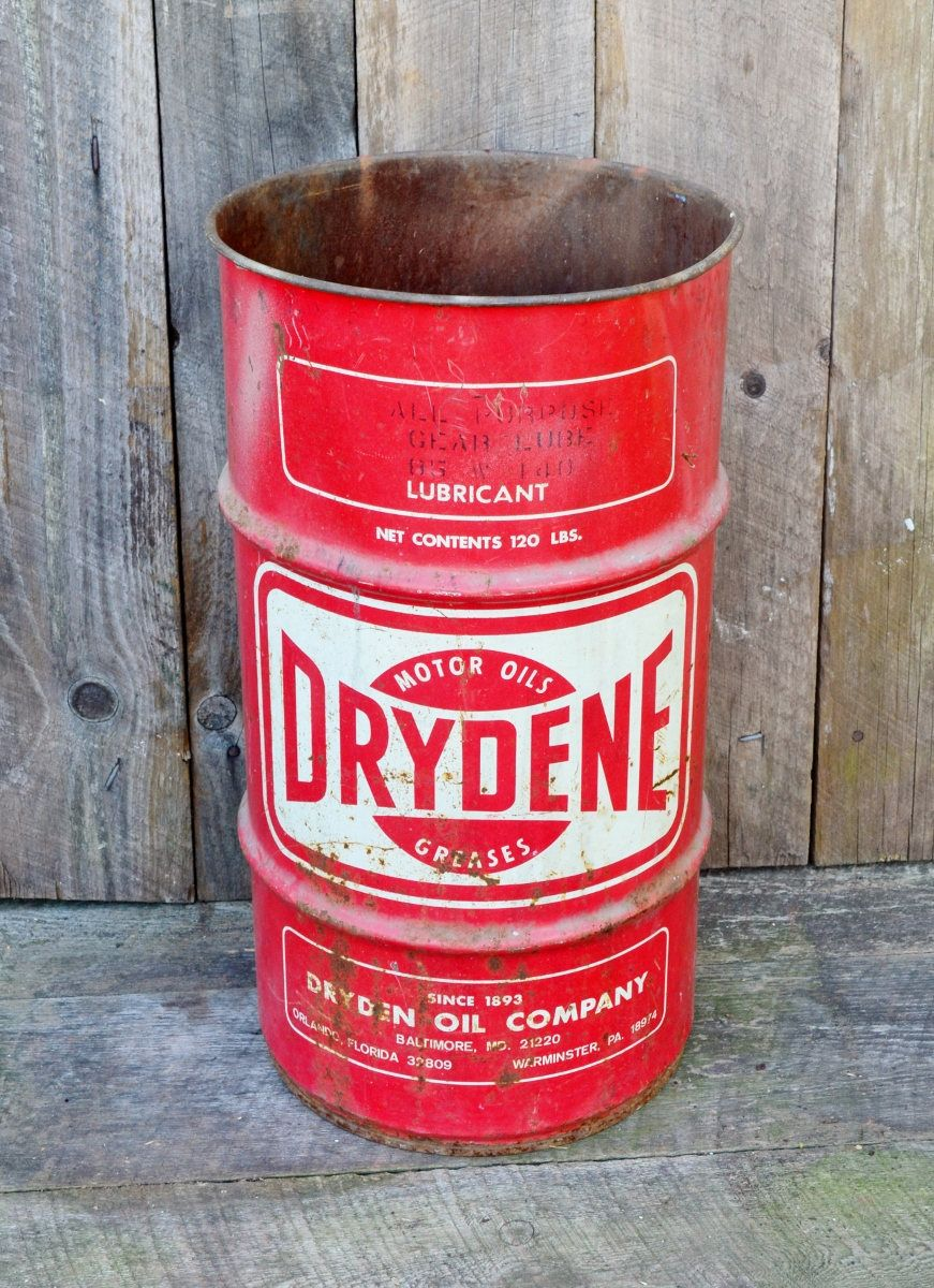 Vintage Drydene Oil Drum 120 Lb 16 Gallon Metal Can Gear Oil Lubricant Red White Industrial Petroleum Maryland Pen White Industrial Oil Drum Vintage Industrial