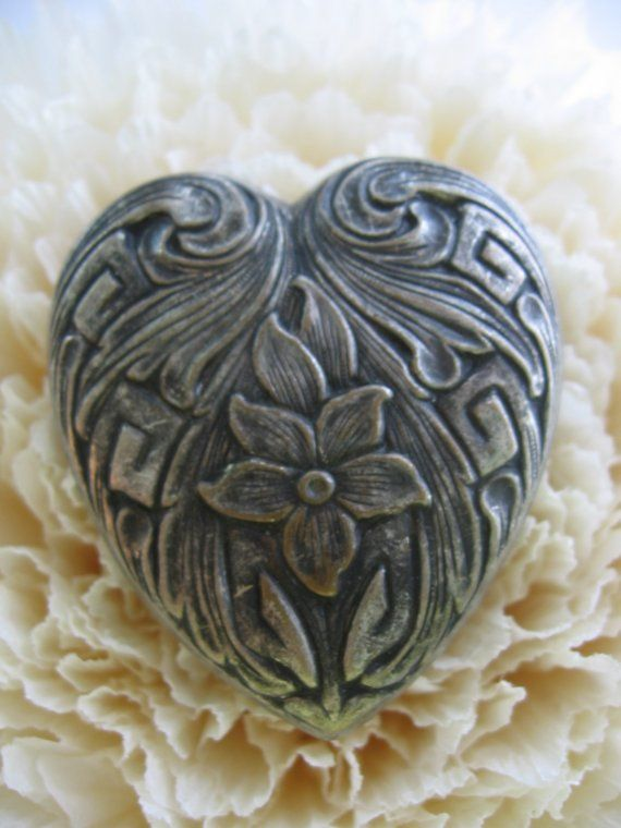 SOLD - Silver Tone ART NOUVEAU Inspired Button Cover for jewelry making, crafting, assemblage, collage, altered art and mixed media