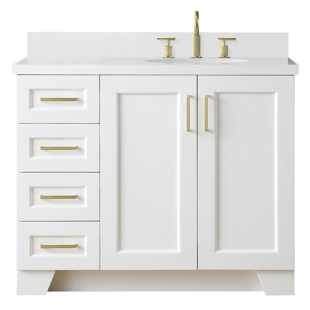 Ariel Taylor 43 In W X 22 In D Bath Vanity In White With Quartz