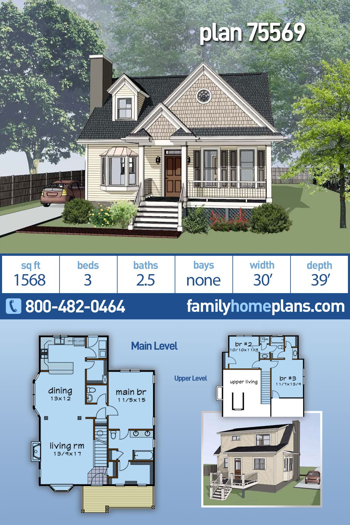 cottage style house plan 75569 with 3 bed 3 bath in 2020