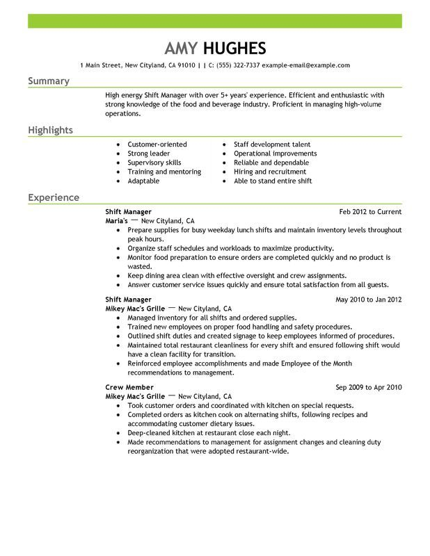Fast Food Manager Sample Resume Unforgettable Shift Examples To Stand Out