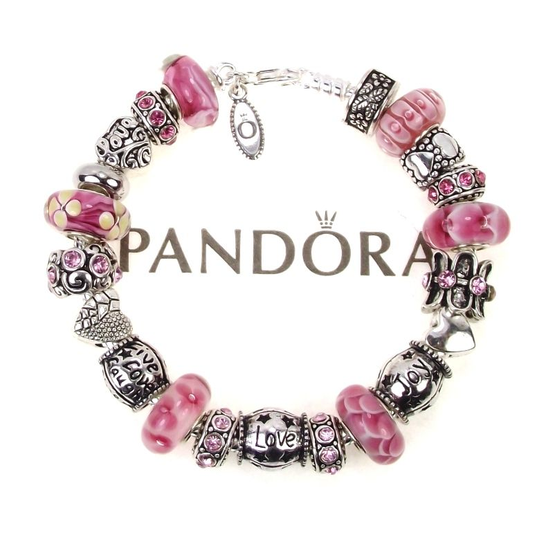 authentic pandora bracelet pink murano bead live love. Black Bedroom Furniture Sets. Home Design Ideas