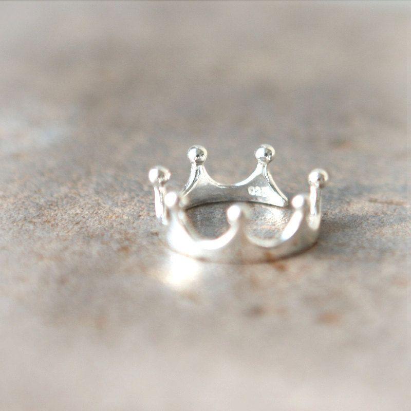 Simple Crown Ring in sterling silver / Adjustable ring. $29.00, via Etsy.