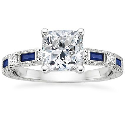 18K White Gold Vintage Sapphire and Diamond Ring from ...