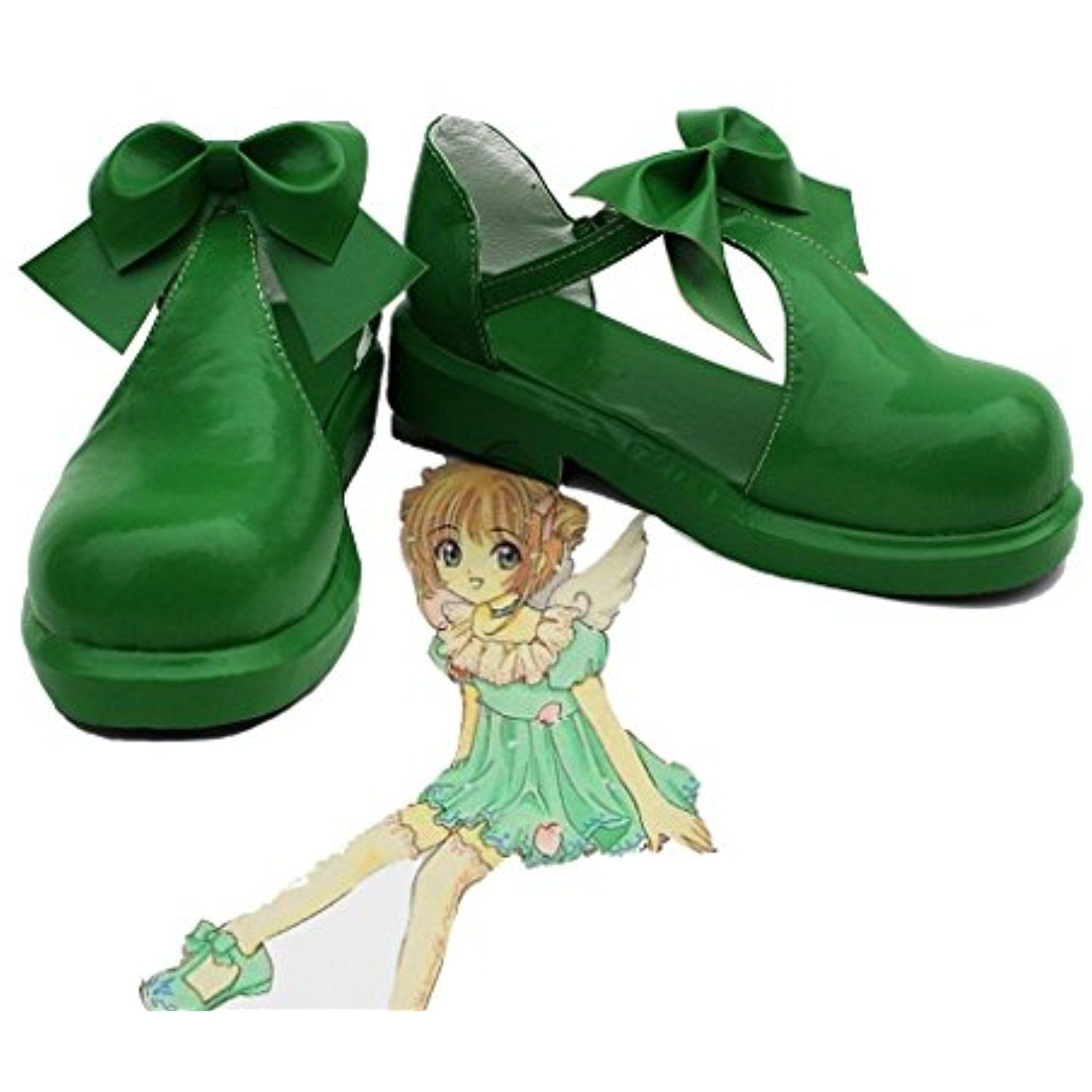 SAKURA KINOMOTO Cosplay Shoes Boots Custom Made Green 2