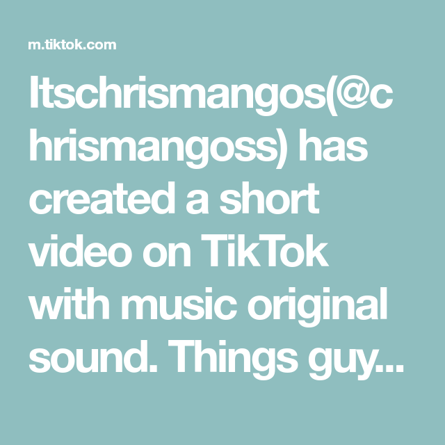 Itschrismangos(@chrismangoss) has created a short video on ...