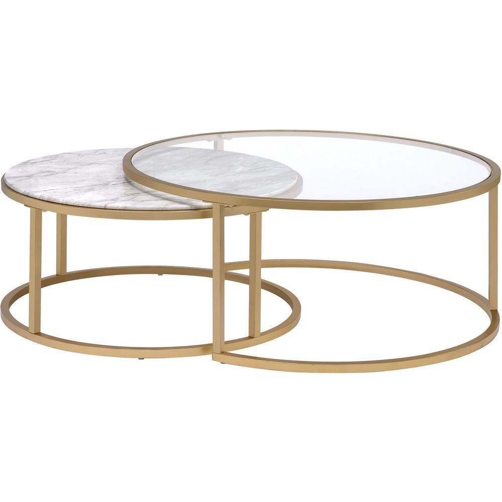 Venetian Worldwide Shanish 2 Piece Gold Round Glass Coffee Table Set With Nesting Tables Va 81110 The Home Depot Coffee Table Gold Nesting Tables Round Glass Coffee Table [ 1000 x 1000 Pixel ]
