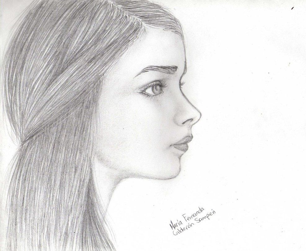 side view face drawing woman