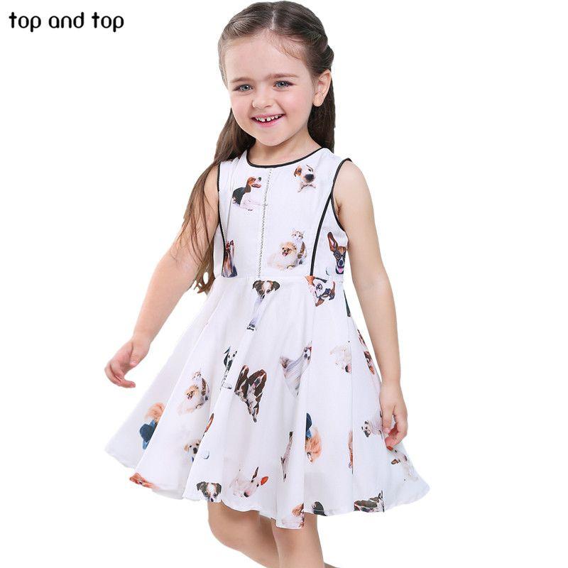 d3c03c84076b2c Crianças meninas Vestidos de Impressão Superior e superior Cães Dos ...