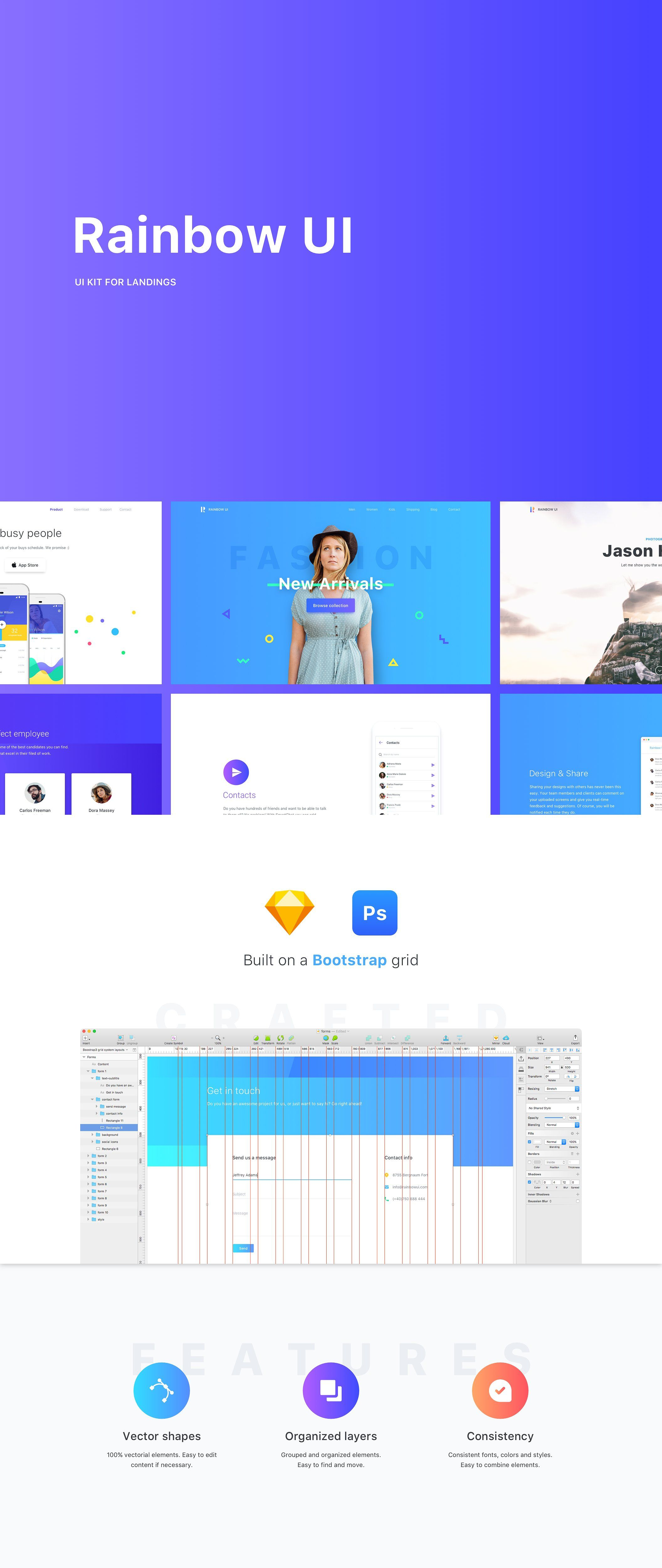 Rainbow UI Kit Bootstrap 4 theme bootstrapgridMove