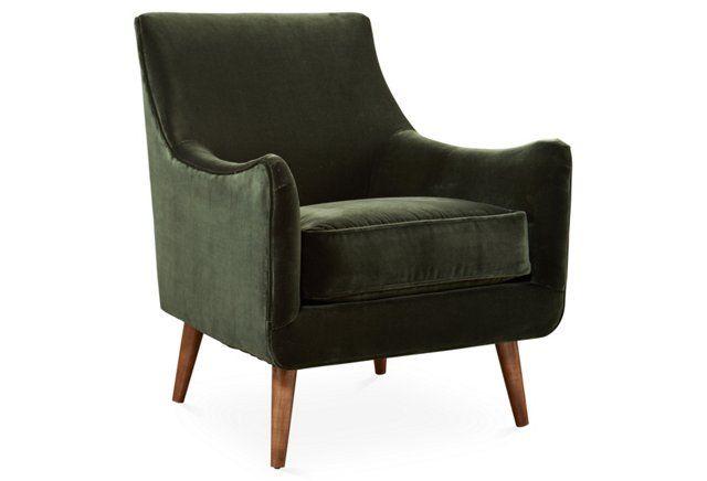 Oliver Chair, Green Velvet
