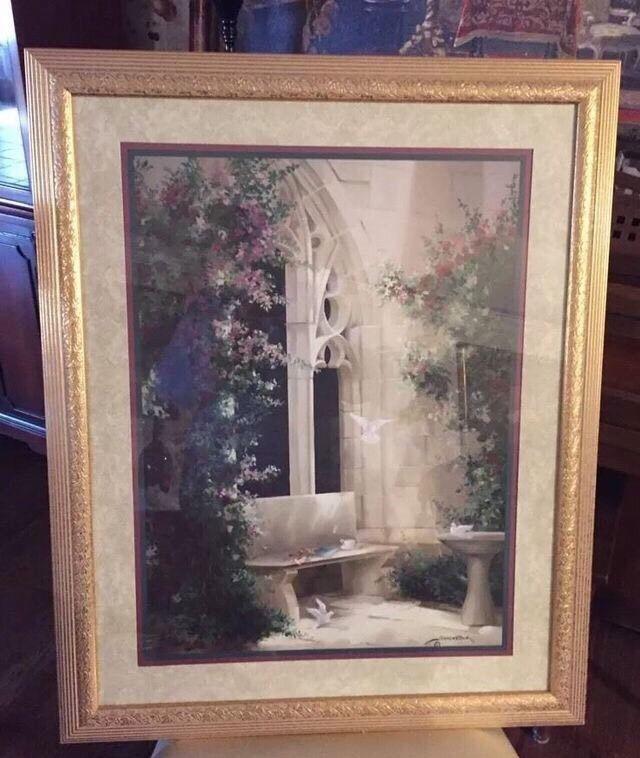 Vintage Home Interiors Birkenstock Gold Framed Picture Doves In