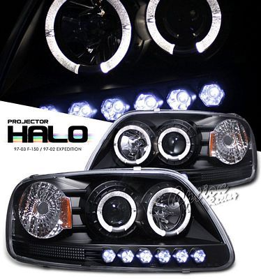 Ford F150 1997 2003 Black Halo Projector Headlights With Led F150 Ford F150 Car Interior Accessories