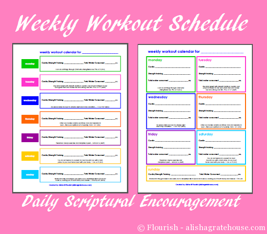 Free Printable Weekly Workout Schedules with Scriptures | Motivation ...