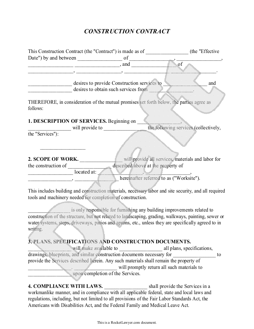 Construction contract template construction agreement for Builder contract for new home